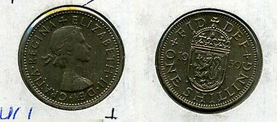 Great Britain 1959 S One Shilling Coin Au 5466A