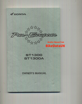 Honda ST1300 Pan European (2009-on) Owners Riders Manual Hand Book ST 1300 A ABS
