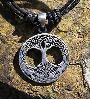 Pewter Tree of Life Celtic Pendant on Long Cord Necklace, NEW