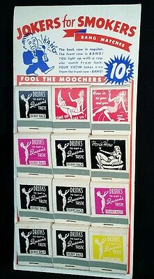 1950s JOKERS for SMOKERS NOS BANG Matches Store Display RISQUE MATCHBOOKS vtg