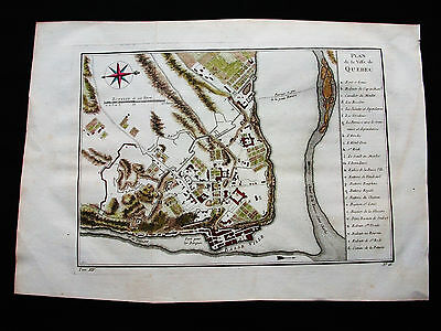 1754 BELLIN - Origin. map of NORTH AMERICA, CANADA, QUEBEC, Saint LAWRENCE RIVER