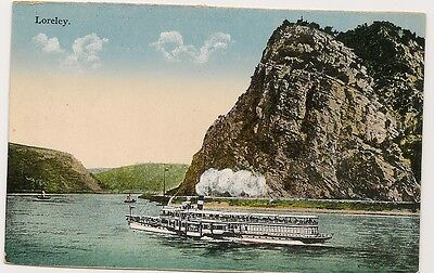 Old Postcard-LORELEY-STEAMSHIP ON ROUTE-GERMANY-by K.S.M.