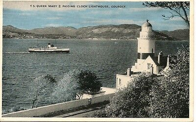 Old Postcard-GOUROCK-T S QUEEN MARY ll PASSING CLOCH LIGHTHOUSE-1964-Scotland.