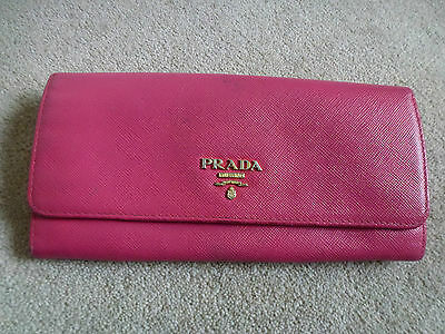 PRADA Pink Leather Wallet Purse with Inside Card and Coin Holders
