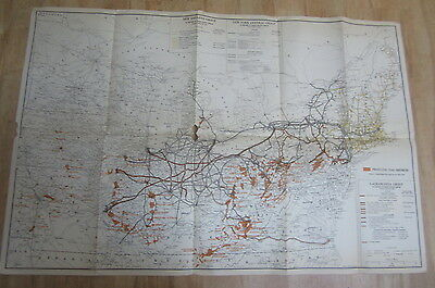 Old 1929 N.Y. CENTRAL / Lackawanna Group - RAILROAD MAP - COAL MINING Districts