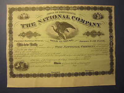 Old 1800's The NATIONAL COMPANY - RAILWAY Stock Certificate Eagle - Pennsylvania