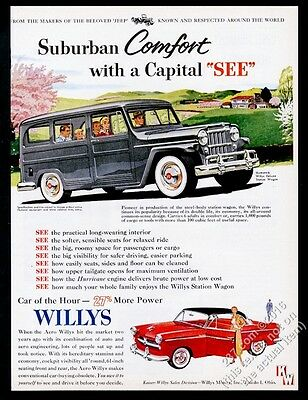 1954 Willys Jeep DeLuxe StatioN Wagon gray SUV & red coupe vintage print ad
