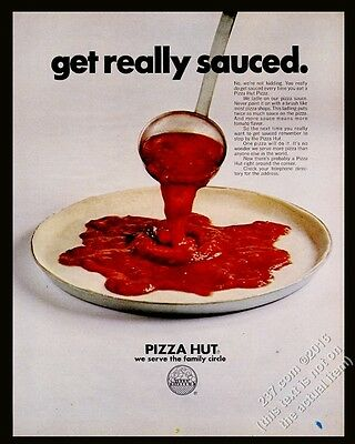 1970 Pizza Hut restaurant pizza photo Get Really Sauced vintage print ad
