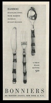 1955 Kay Bojesen Bamboo spoon knife fork photo Bonniers NYC vintage print ad