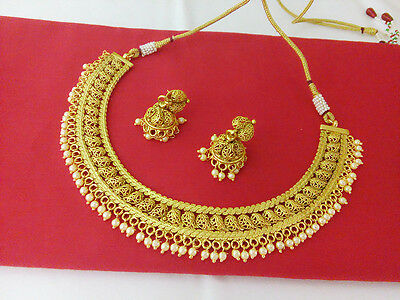New Indian Fashion Jewelry Necklace Set Bollywood Ethnic Gold Traditional Set