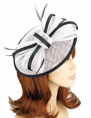Black & White Sinamay Circular Saucer Shaped Hair Fascinator Hatinator 9cm Clip