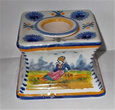 Vintage  HB Quimper Faience French Inkwell Breton Woman