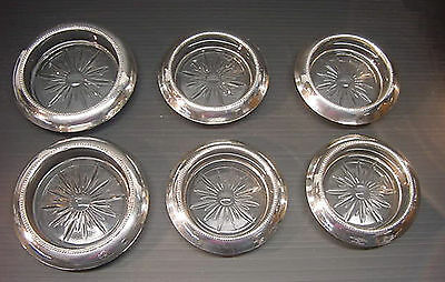 Frank Whiting Sterling Silver & Glass 4 Coasters & 2 Champagne Bottle Coasters