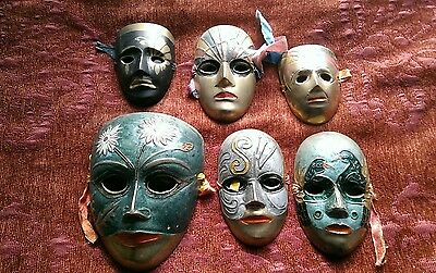6 X Vintage Brass Theatrical Face Mask Wall Plaques