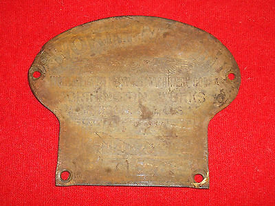 Vintage Worthington Works Pumping Machinery Corp Brass Tag Plaque