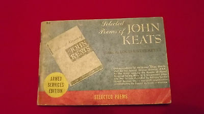 WW11 US Armed services edition, selected poems of John Keats