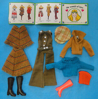 Vintage 1970's Hasbro World of Love (Small Barbie) Doll Clothing LOT - Adorable!
