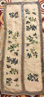 """Antique Chinese Woven Embroidery Panel Wall Hanging Silk Textile 16"""" X 38"""""""