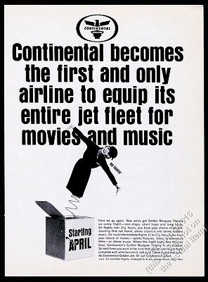 1965 Continental Airlines stewardess jack-in-the-box photo vintage print ad