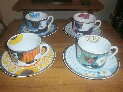 Rosina Wachtmeister Superb Four Cat & Saucer Sets - Unused
