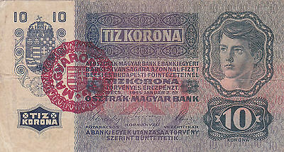 10 Krone 1915/20 Fine Banknote With A Stamp From Hungarypick-19