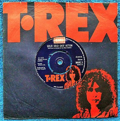 "T. Rex  Solid Gold Easy Action Pop Rock, Glam 1970s EX+ 7 "" INCH 45RPM"