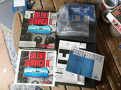 Silent Service II by Microprose  Amiga boxed Game in Fair Condition booted