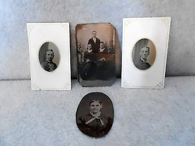"""4 Tintype Photo Victorian Portraits, Mid 1800's, approx. 2 1/2"""" x 4"""""""