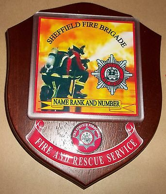 Sheffield Fire Brigade wall plaque personalised free of charge.