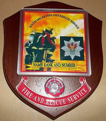 South Wales Fire and Rescue Service wall plaque personalised free of charge.