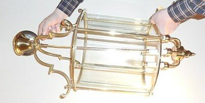Large Vintage Heavy Brass Light Fixture With Glass Shade Candle Bulb Sockets