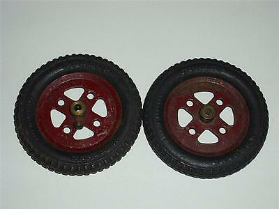 """LOT OF 2 PRE-WAR MECCANO DARK RED 2"""" PULLEYS (20a) with DUNLOP TYRES (142a)!"""