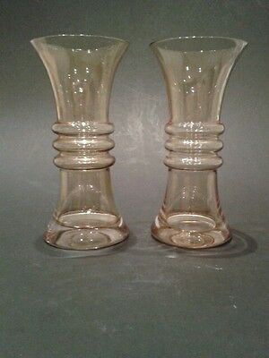 A Pair of Riihimaki Glass Tamara Aladin flared/hooped vases in amber 1970's