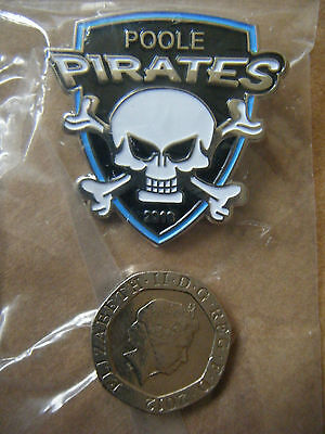 """POOLE PIRATES"" 2016 Silver Speedway badge. New and sealed."