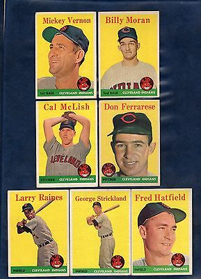 1958 TOPPS BASEBALL CLEVELAND INDIANS LOT  7 CARDS  includes 2 ROOKIE CARDS