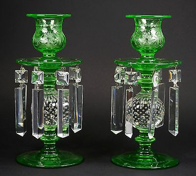 RARE Pairpoint Glass Green Ball Etched Set of Candle Holders Original Prisms