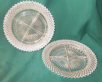 """2 Vint Depression Anchor Hocking 8-3/4"""" Miss America Divided Relish Candy Plates"""