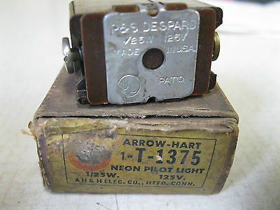 Arrow Hart pilot light T-1375 1/25W 125V NEW