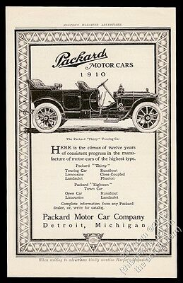 1910 Packard Thirty open touring car art vintage print ad