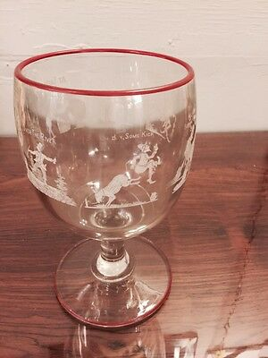 Rare Unique Large Clear Goblet Painted Different Character Probation