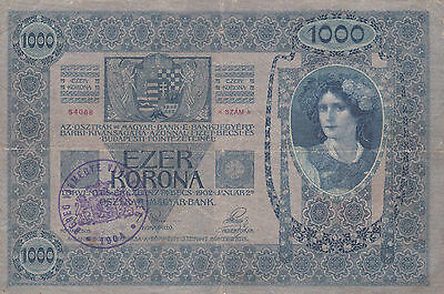 1000 Krone Banknote 1919 From County Of Bereg!historic Hungary!rare