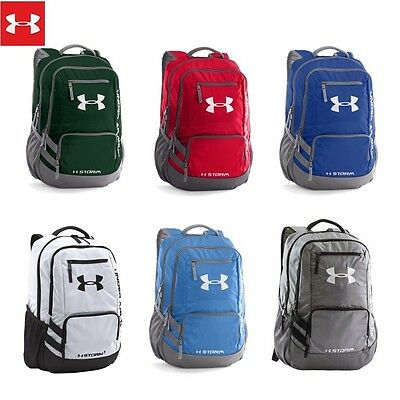 Under Armour Team Hustle School Laptop Backpack White Green Blue Red Grey