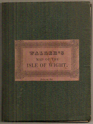 WALKER'S MAP OF THE ISLE OF WIGHT Hand Coloured Antique Map Book c1870s