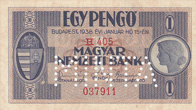 1 Pengo Specimen1938 Hungary!used On Reclaimed Territories During Ww2!pick-102S