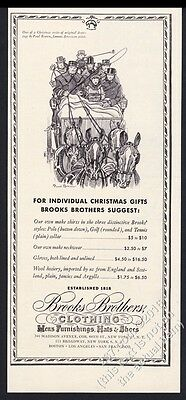 1948 horse carriage Paul Brown art Brooks Brothers Christmas vintage print ad