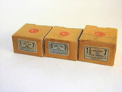"NOS STOCK 3 BOXES VINTAGE # 7 x 1"" & 1 1/4""  ROUND HEAD BLUED WOOD SCREWS T2917B"