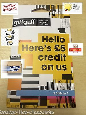 giffgaff Nano+Micro+Standard 3-in-1 SIM *FREE £5 Credit* Unlimited Call Text Net