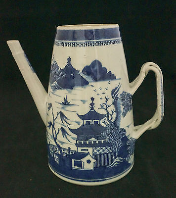 Lovely 18th C. Chinese Export Nanking Blue White Large Coffee Pot Pitcher