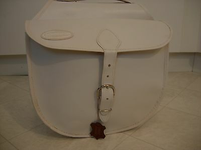 Italian White Leather Bicycle Panniers Saddle Bags Nos