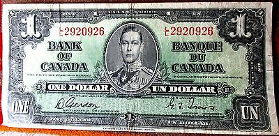1937 BANK OF CANADA ONE DOLLAR Canadian Bank Note Company Limited